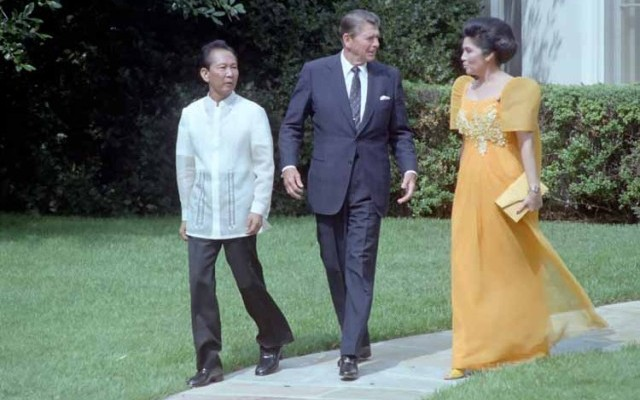 Reagan with Ferdinand and Imelda Marcos